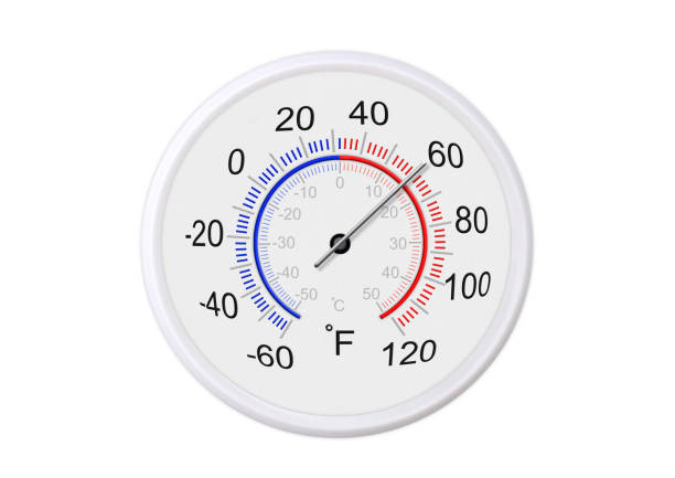 Fahrenheit and celsius scale white round thermometer for measuring weather temperature.  Thermometer isolated on white background. Ambient temperature plus 60 degrees fahrenheit stock photo