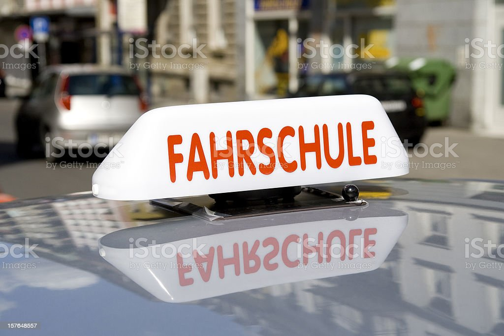 Fahrschule - german driving school car closeup stock photo