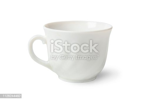 White porcelain tea cup isolated on white background