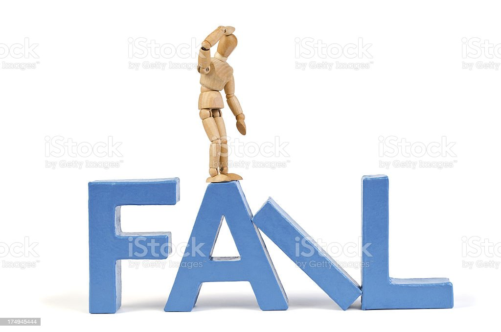 Fail - Wooden Mannequin demonstrating this word stock photo