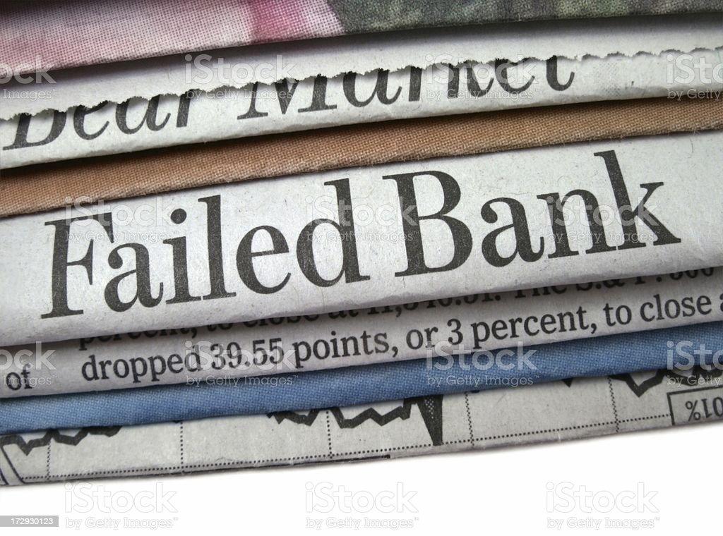 Failed Bank Headline stock photo