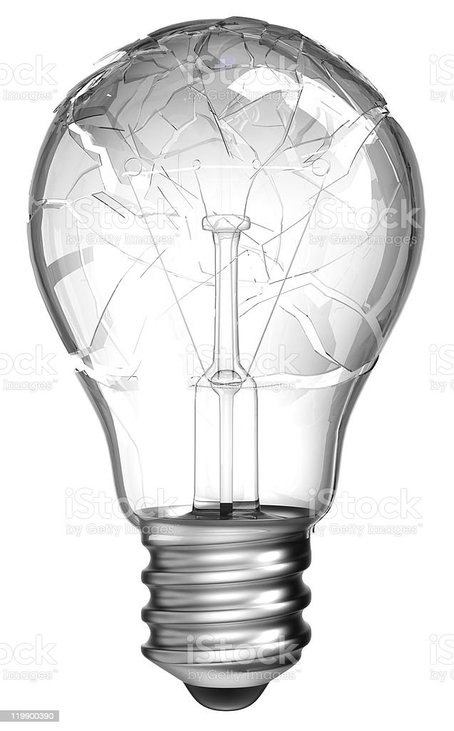 Failed idea. Smashed lightbulb isolated royalty-free stock photo