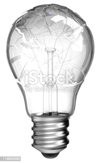 istock Failed idea. Smashed lightbulb isolated 119900390