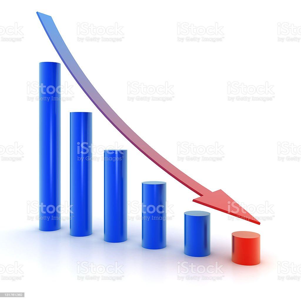 Failure graph symbol royalty-free stock photo