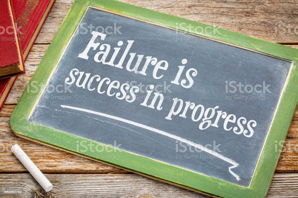 Failure is success in progress stock photo