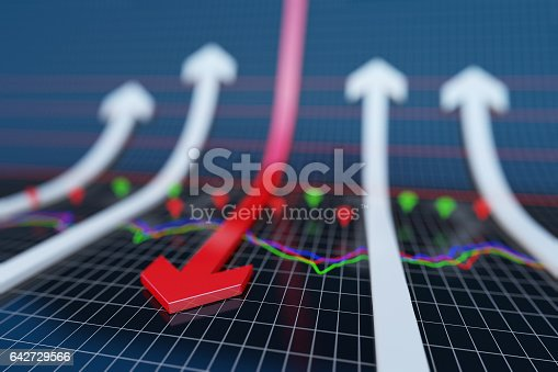 istock Failure of the arrow, financial bankruptcy 642729566
