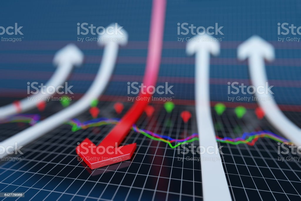 Failure of the arrow, financial bankruptcy stock photo