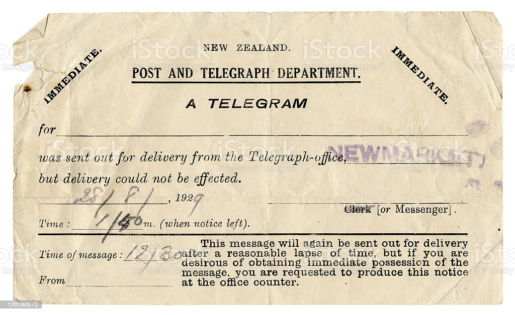 Failure to deliver a telegram - New Zealand, 1929 stock photo