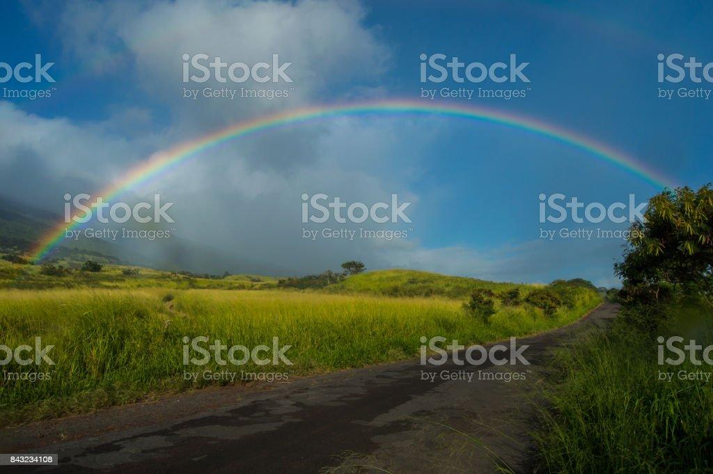 Faint Double Rainbow stock photo