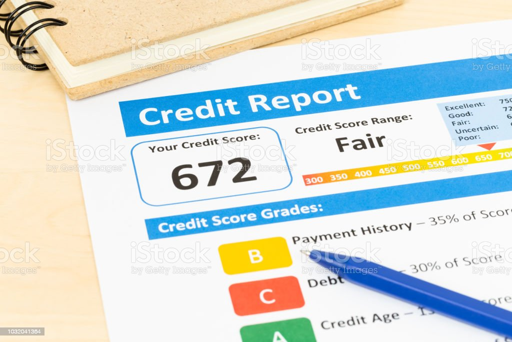 Credit Cards For Credit Score Under 600 >> Fair Credit Score Report With Pen Stock Photo Download