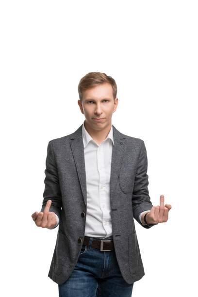 Gerechte Mann in einem Anzug emotionale isoliert Porträt – Foto