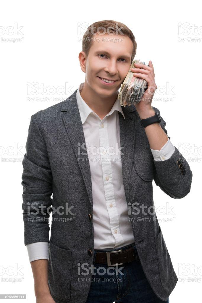 Gerechte Mann mit einem Bündel Geld Porträt – Foto