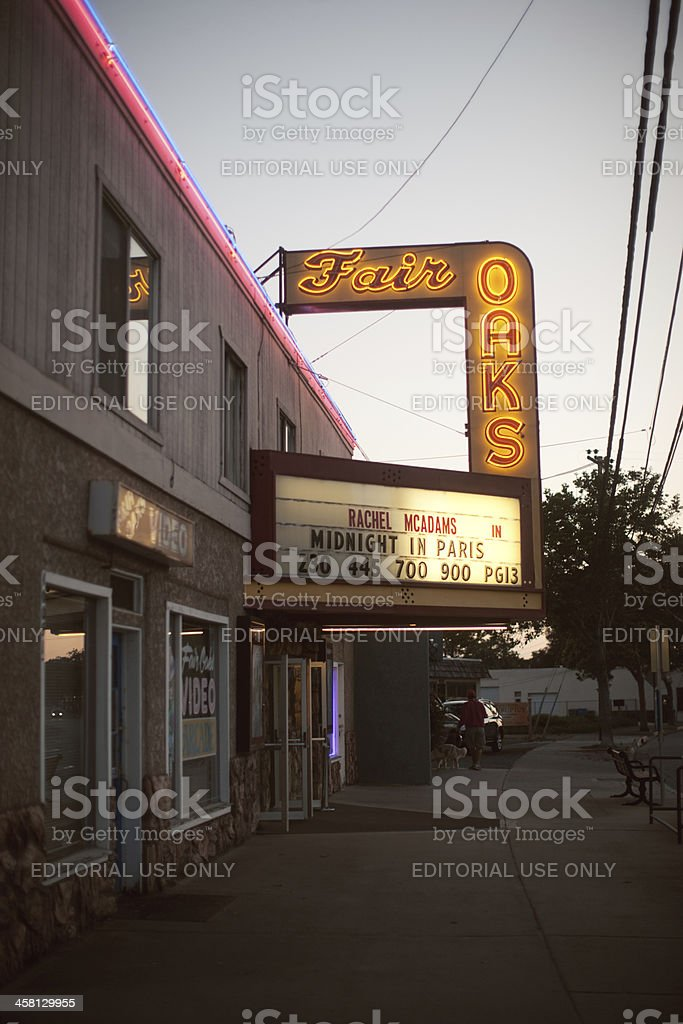 Fair Oaks Movie Theater stock photo