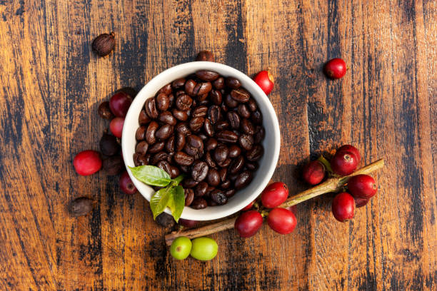 Fair trade coffee background. stock photo