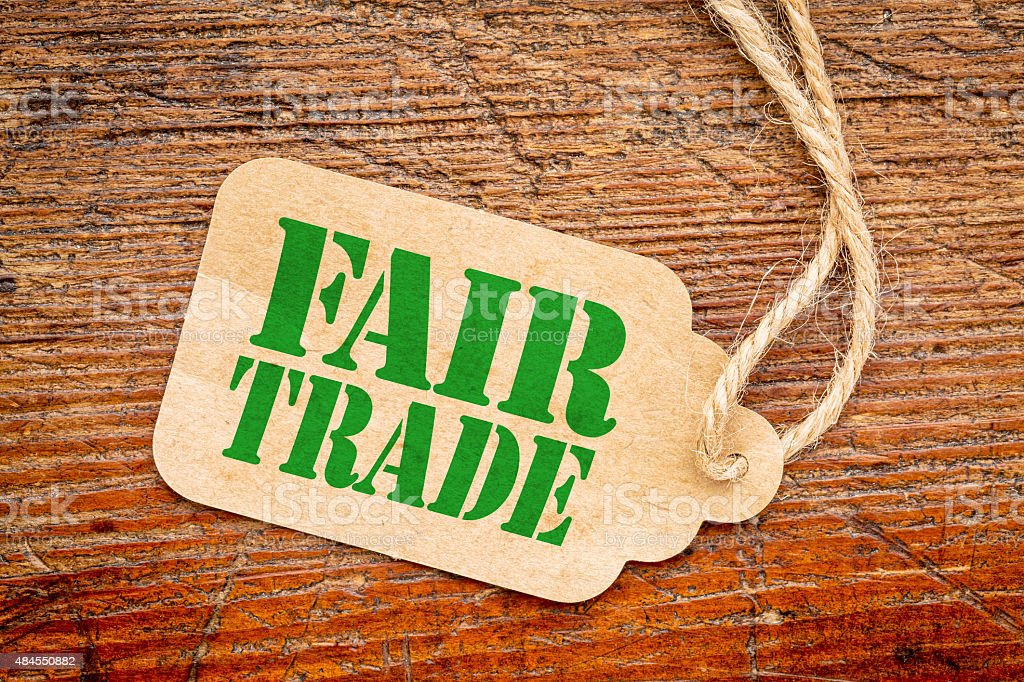 fair trade sign  on a price tag stock photo