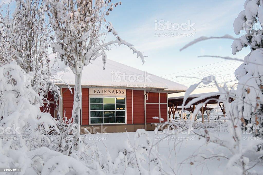 Fairbanks Alaska Railroad Depot in Winter stock photo