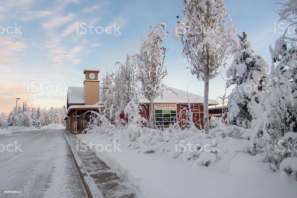 Fairbanks Alaska Railroad Station in Winter stock photo