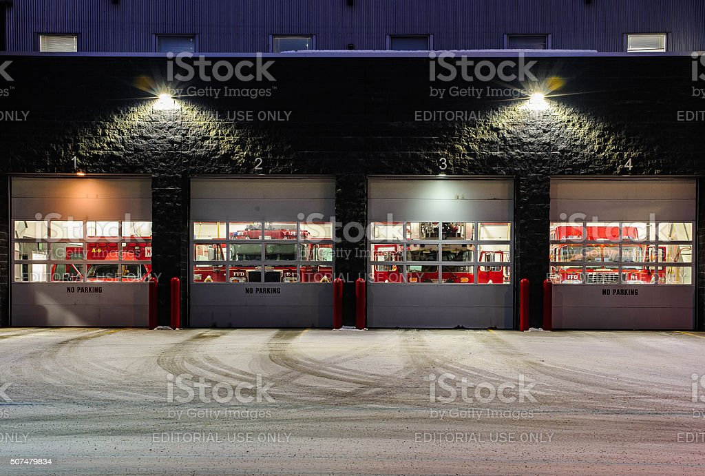 Fairbanks Fire Department at night stock photo