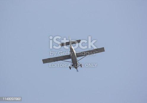Chiangmai, Thailand - April 14 2019: 21304 Fairchild AU-23 of the Royal Thai Air Force. Fly Over Chiangmai Sky.