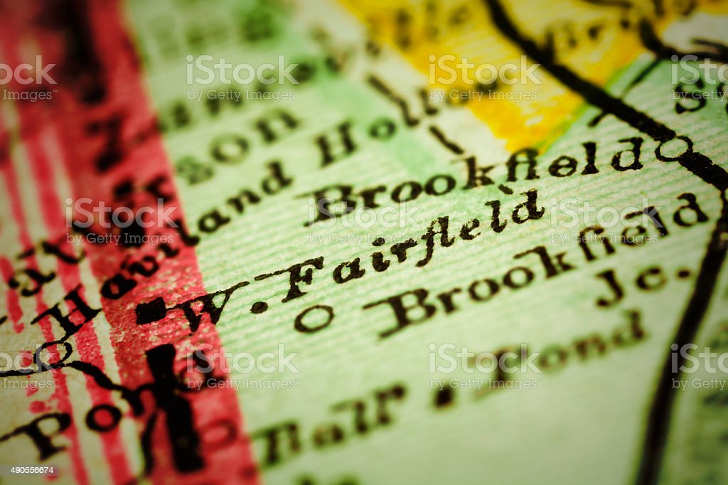 Fairfield, Connecticut on an Antique map stock photo