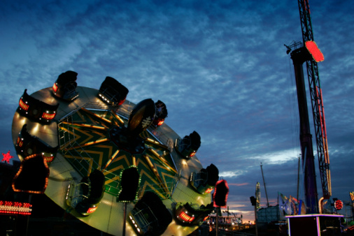 Fairground At Dusk Stock Photo - Download Image Now