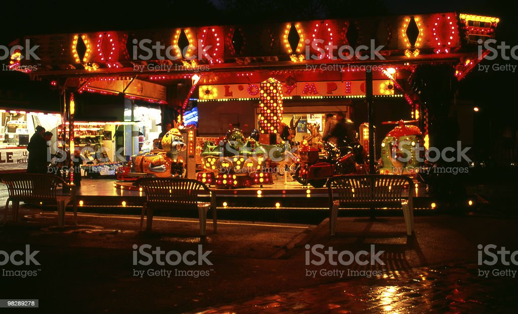 Fairground at night. Boulogne. France royalty-free stock photo