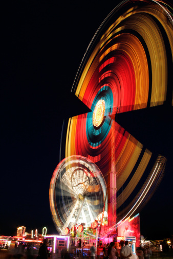 Fairground At Night Stock Photo - Download Image Now