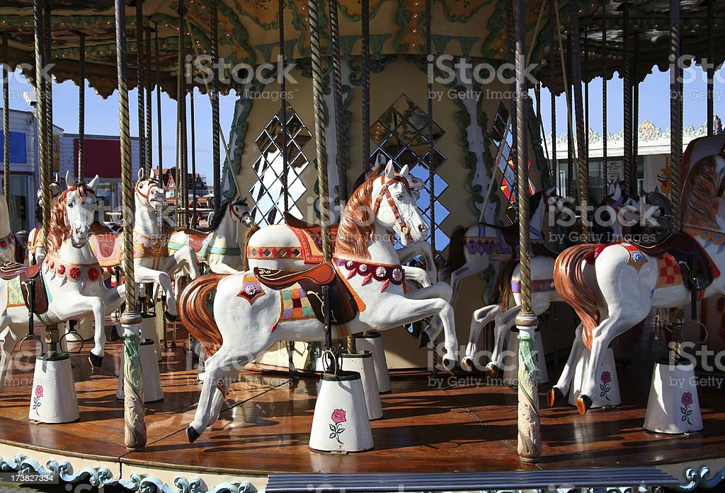 Fairground horse ride carousel merry go round stock photo