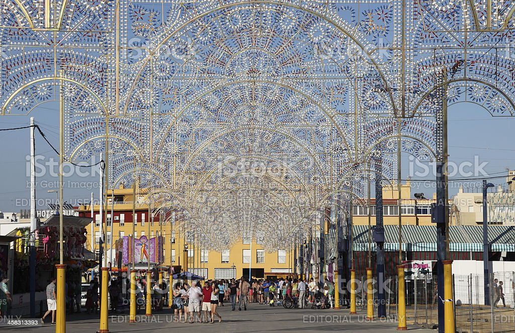 Fairground in Algeciras, Spain stock photo