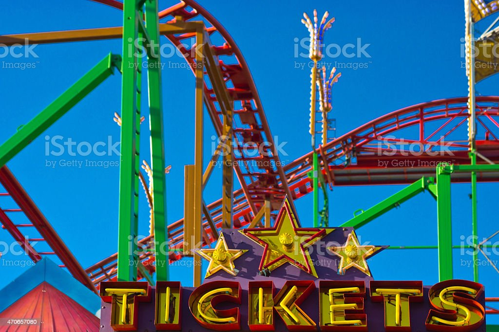 Fairground tickets sign stock photo