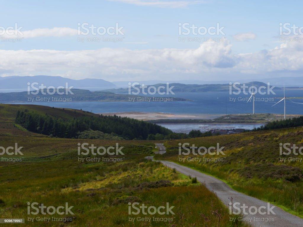 Fairlie Moor looking towards the Isle of Cumbrae stock photo
