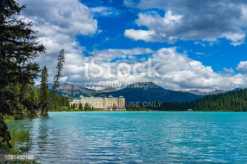 istock Fairmont Chateau Lake Louise in sunmmer sunny day morning. Banff National Park, Alberta, Canada. 1291432162