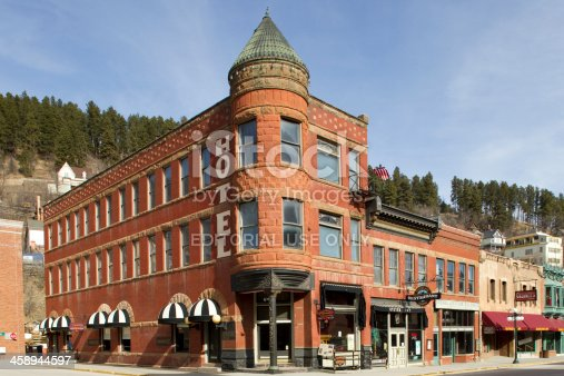 Deadwood, South Dakota, United States - March 9, 2012. Fairmont Hotel on the corner of Wall St. and Main St. in Deadwood, South Dakota. The hotel was originally known as the Mansion House and over the years has seen quite a seedy history.