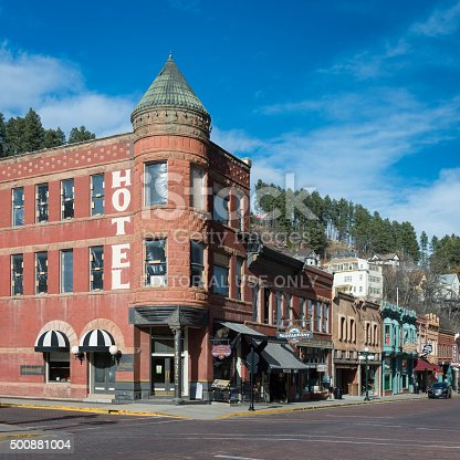 Deadwood, South Dakota, USA - November 1, 2015: Historic Fairmont Hotel on Main Street in downtown Deadwood, South Dakota