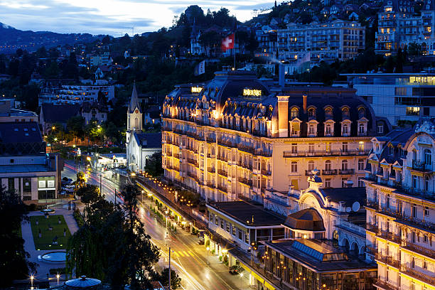 Fairmont Le Montreux Palace Hotel at night