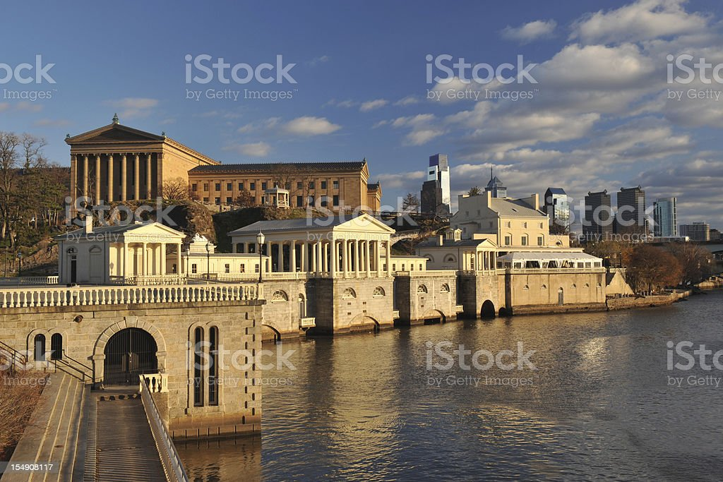 Fairmount Water Works in Philadelphia stock photo