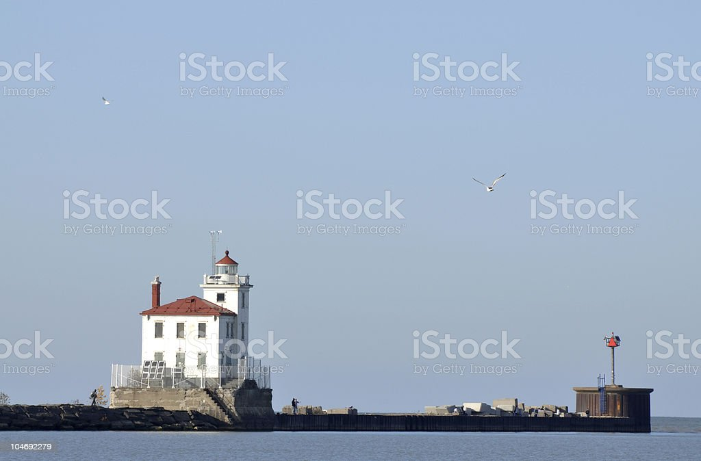 Fairport Harbor Lighthouse on Lake Erie royalty-free stock photo