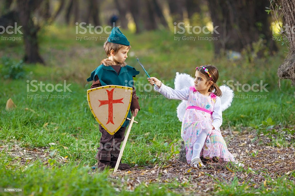 Fairy and Knight stock photo