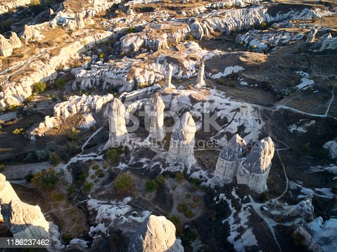A mushroom rocks, also called rock pedestals, or Fairy chimneys at the valley near Goreme, Cappadocia, Turkey. Rock Sites of Cappadocia. UNESCO World Heritage Site. Aerial view