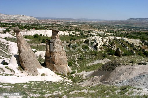 Fairy chimneys (Peri Bacaları) at Cappadocia in Nevsehir, Turkey. Cappadocia is part of the UNESCO World Heritage Site.
