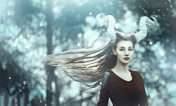 fairy demon with horns - gothic fashion stock photos and pictures