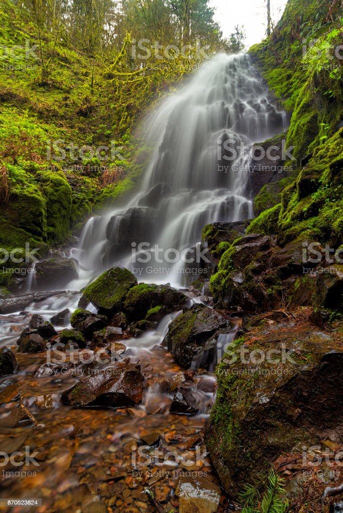 Fairy Falls along Columbia River Gorge in Oregon USA stock photo