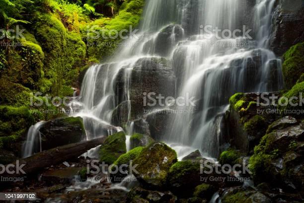 Photo of Fairy Falls closeup along Columbia Gorge in Oregon