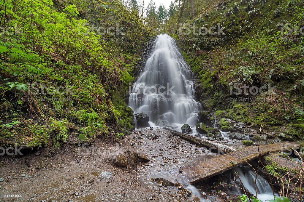 Fairy Falls in Columbia River Gorge stock photo
