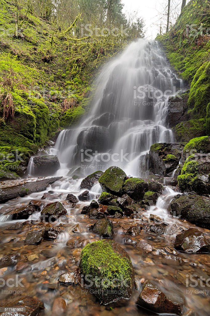 Fairy Falls in Columbia River Gorge Spring stock photo