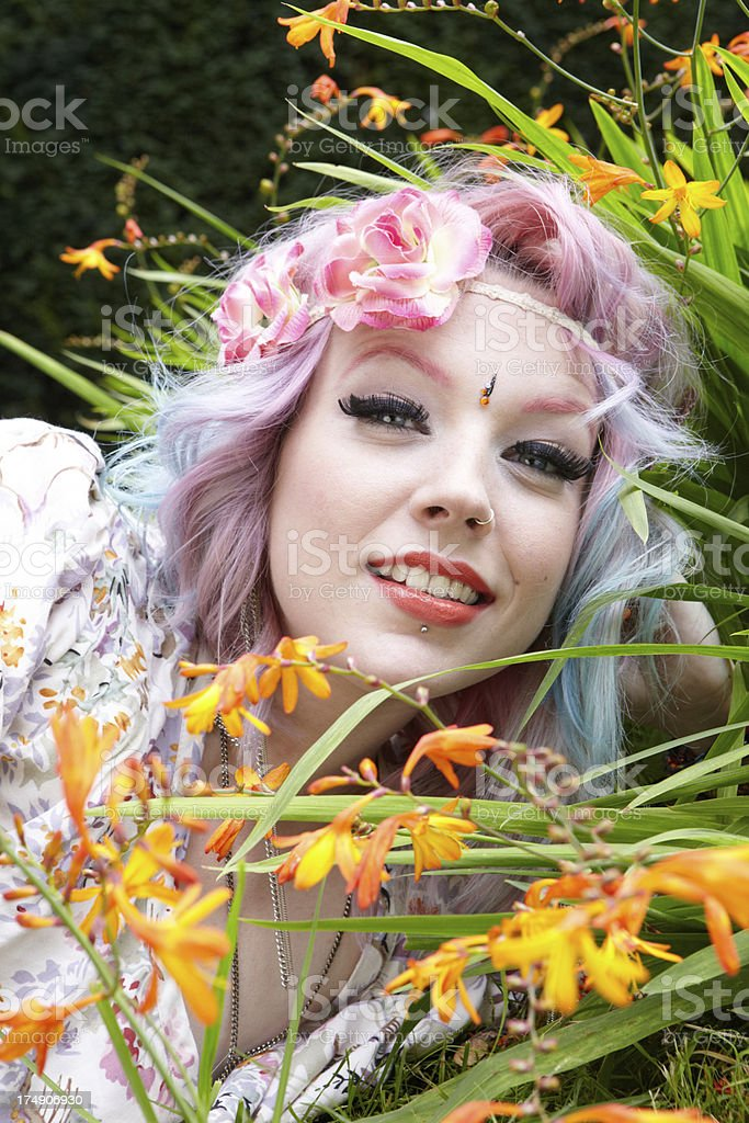 Fairy Flower Hippie Girl Portrait royalty-free stock photo