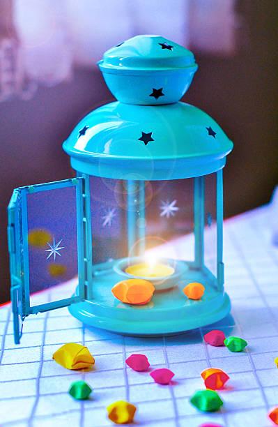 fairy lantern with a candle. lamp   lights. - indoor feen gärten stock-fotos und bilder