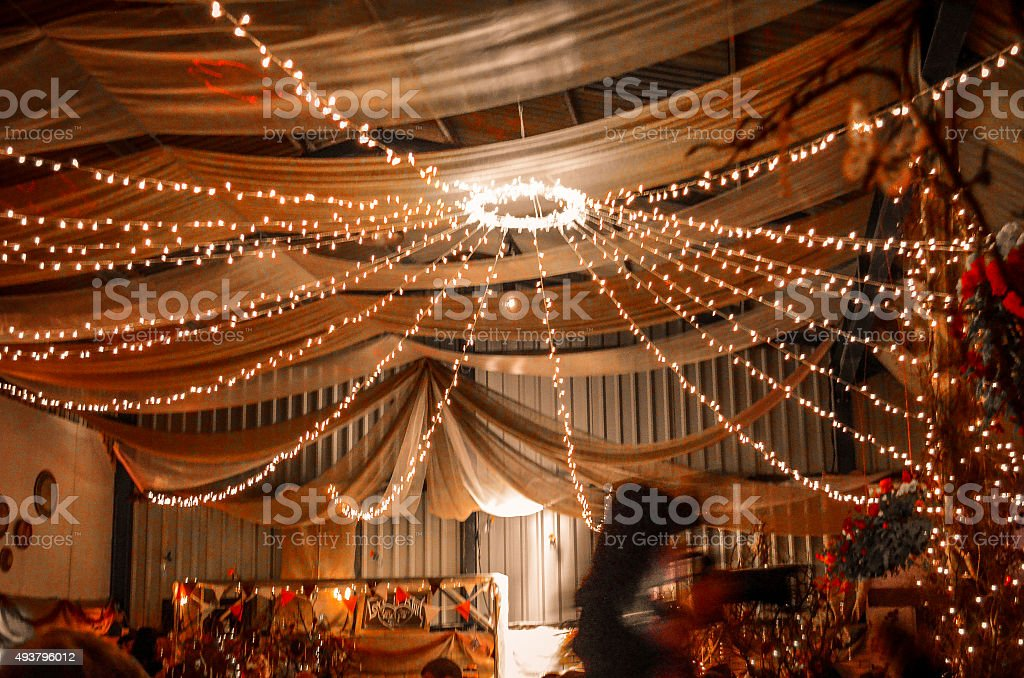 Fairy lights at a party stock photo