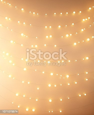 istock fairy lights on the wall background 1071075574