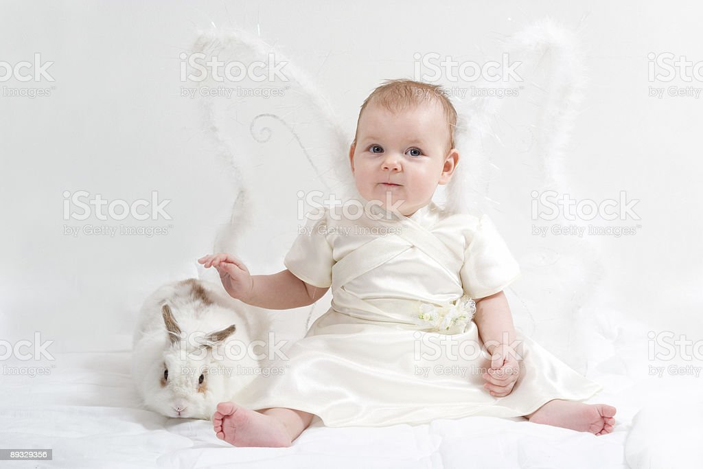 fairy plays with white rabbit royalty-free stock photo